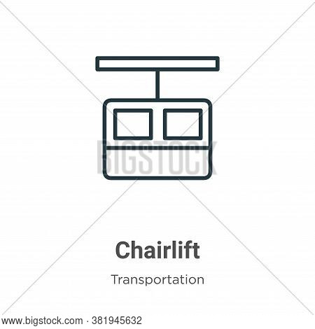 Chairlift icon isolated on white background from transportation collection. Chairlift icon trendy an