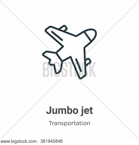 Jumbo jet icon isolated on white background from transportation collection. Jumbo jet icon trendy an