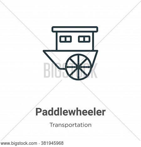 Paddlewheeler icon isolated on white background from transportation collection. Paddlewheeler icon t