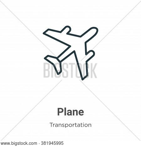 Plane icon isolated on white background from transportation collection. Plane icon trendy and modern