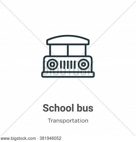 School bus icon isolated on white background from transportation collection. School bus icon trendy