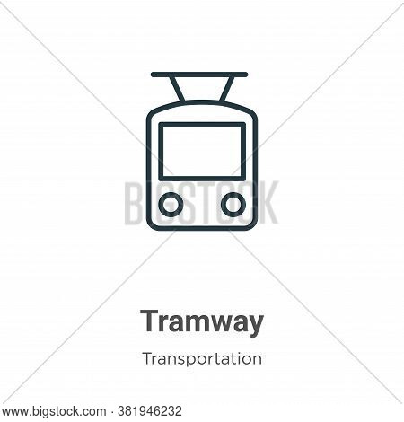 Tramway icon isolated on white background from transportation collection. Tramway icon trendy and mo