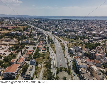 Thessaloniki, Greece Aerial Drone Landscape View Of City Road Traffic On Multi Lanes Avenue. Day Top