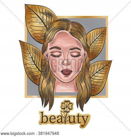Beautiful Fashion Woman Portrait. Girl Face With Closed Eyes On Golden Leaves Background, Beauty Tex