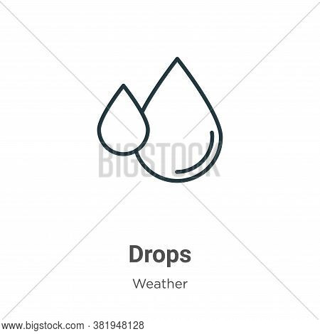 Drops icon isolated on white background from weather collection. Drops icon trendy and modern Drops