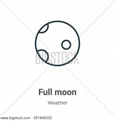 Full moon icon isolated on white background from weather collection. Full moon icon trendy and moder