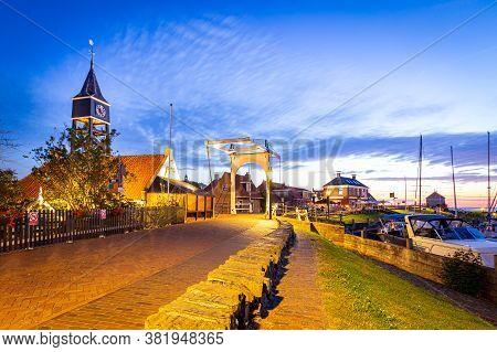 Hindeloopen, Friesland, Netherlands - August 6, 2020: Townscape Picturesque Fishing Village Hindeloo