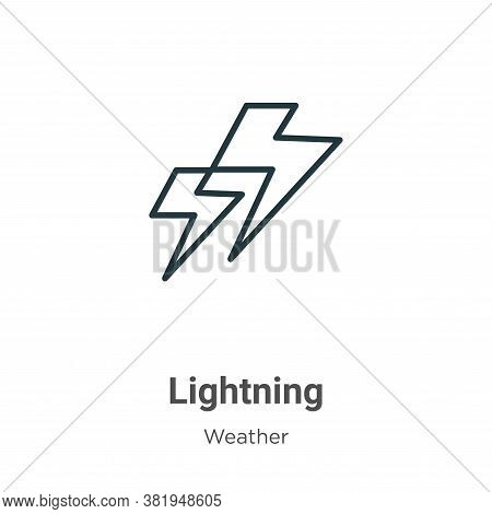 Lightning icon isolated on white background from weather collection. Lightning icon trendy and moder