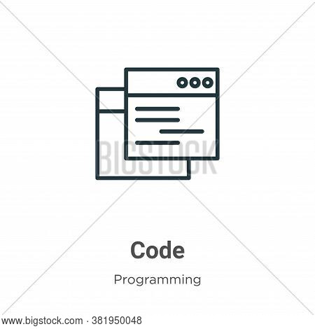 Code icon isolated on white background from programming collection. Code icon trendy and modern Code