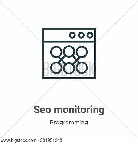 Seo monitoring icon isolated on white background from seo collection. Seo monitoring icon trendy and