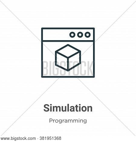 Simulation icon isolated on white background from programming collection. Simulation icon trendy and