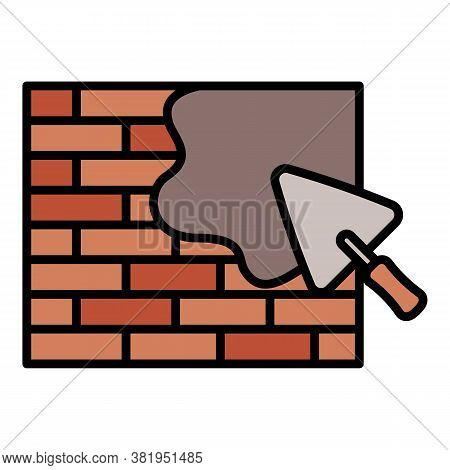 Masonry Trowel Wall Icon. Outline Masonry Trowel Wall Vector Icon For Web Design Isolated On White B