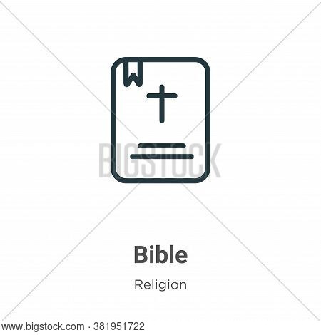 Bible icon isolated on white background from religion collection. Bible icon trendy and modern Bible
