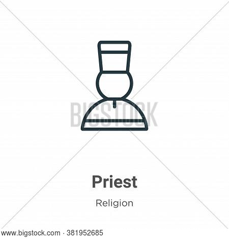 Priest Icon From Religion Collection Isolated On White Background.