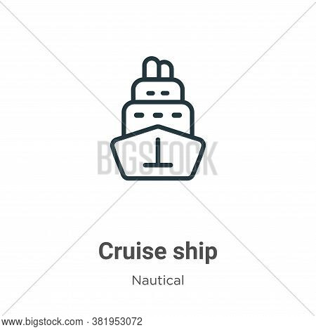 Cruise ship icon isolated on white background from nautical collection. Cruise ship icon trendy and
