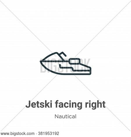 Jetski facing right icon isolated on white background from nautical collection. Jetski facing right