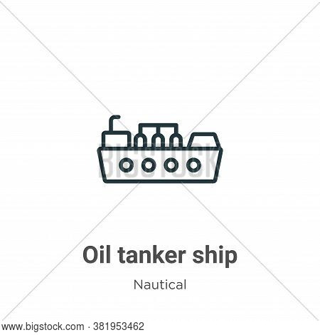Oil tanker ship icon isolated on white background from nautical collection. Oil tanker ship icon tre