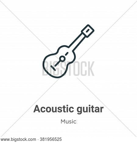 Acoustic guitar icon isolated on white background from music collection. Acoustic guitar icon trendy
