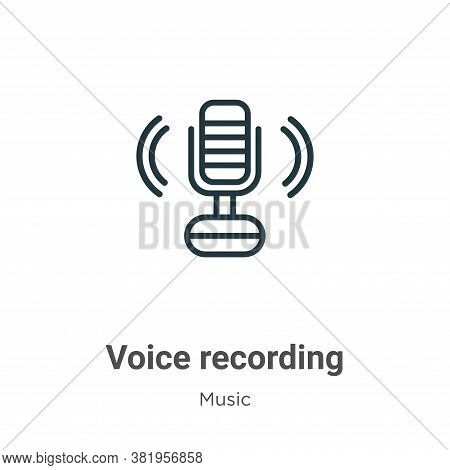 Voice recording icon isolated on white background from music collection. Voice recording icon trendy