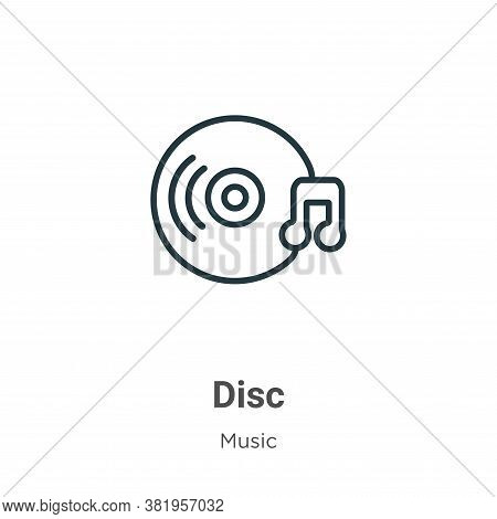 Disc icon isolated on white background from music collection. Disc icon trendy and modern Disc symbo