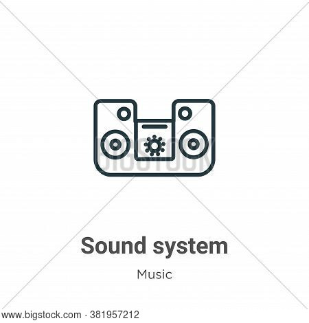 Sound system icon isolated on white background from music collection. Sound system icon trendy and m