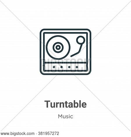 Turntable icon isolated on white background from music collection. Turntable icon trendy and modern