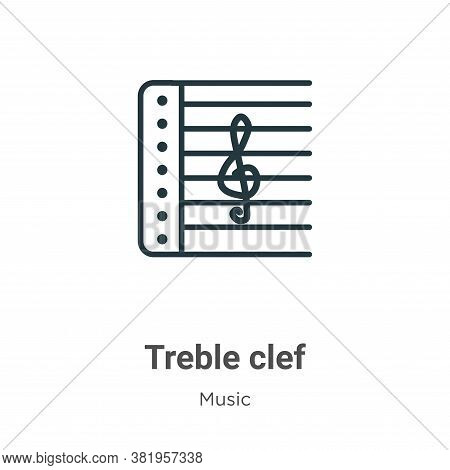 Treble clef icon isolated on white background from music collection. Treble clef icon trendy and mod