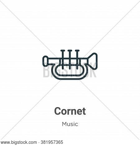 Cornet icon isolated on white background from music collection. Cornet icon trendy and modern Cornet