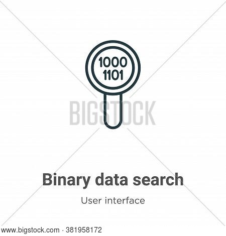 Binary data search icon isolated on white background from user interface collection. Binary data sea