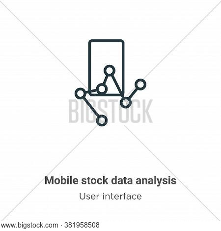 Mobile stock data analysis icon isolated on white background from user interface collection. Mobile