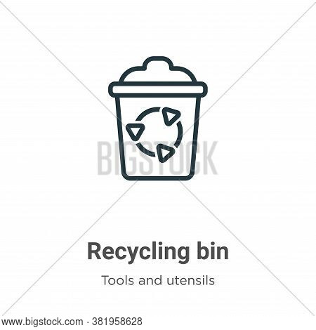 Recycling bin icon isolated on white background from tools and utensils collection. Recycling bin ic