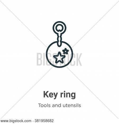 Key ring icon isolated on white background from tools and utensils collection. Key ring icon trendy