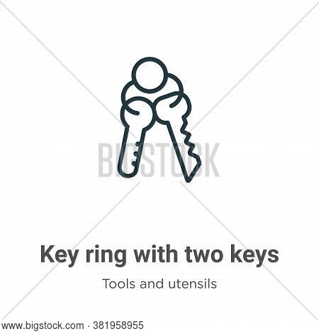 Key ring with two keys icon isolated on white background from tools and utensils collection. Key rin