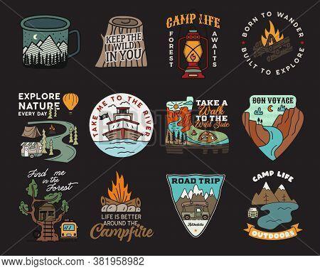 Vintage Mountain Camp Badges Logos Set, Adventure Patches. Hand Drawn Stickers Designs Bundle. Trave