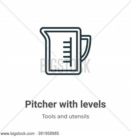 Pitcher with levels icon isolated on white background from tools and utensils collection. Pitcher wi