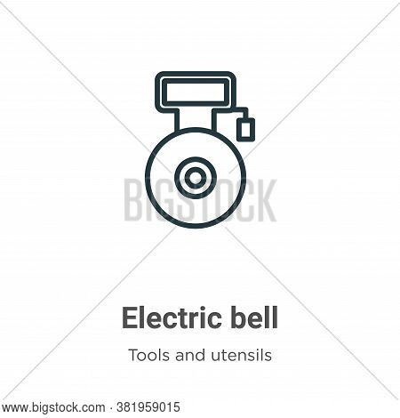 Electric bell icon isolated on white background from tools and utensils collection. Electric bell ic