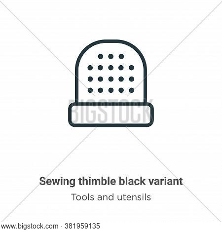 Sewing thimble black variant icon isolated on white background from tools and utensils collection. S