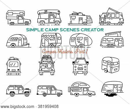 Vintage Hand Drawn Camper Recreational Trailers, Rv Cars Icons. Simple Line Art Graphics Elements. C