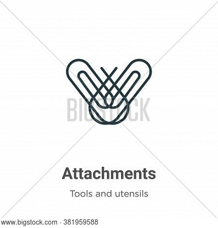 Attachments icon isolated on white background from tools and utensils collection. Attachments icon t