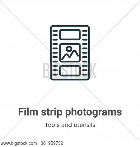 Film strip photograms icon isolated on white background from tools and utensils collection. Film str