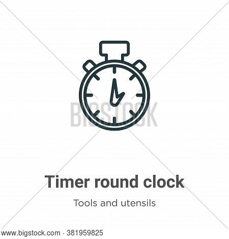 Timer round clock icon isolated on white background from tools and utensils collection. Timer round