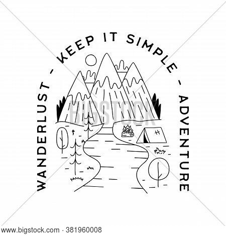 Vintage Camp Patch Logo, Mountain Life Badge. Hand Drawn Silhouette Sticker Design. Travel Expeditio