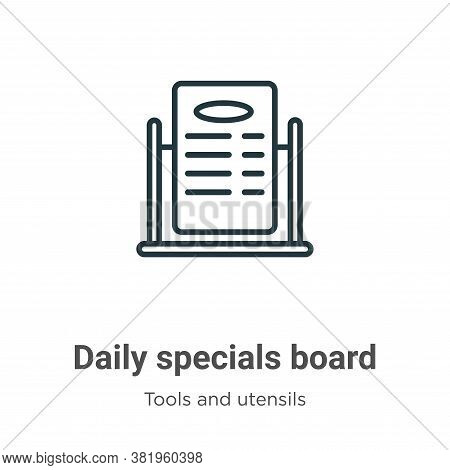 Daily specials board icon isolated on white background from tools and utensils collection. Daily spe