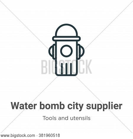 Water bomb city supplier icon isolated on white background from tools and utensils collection. Water