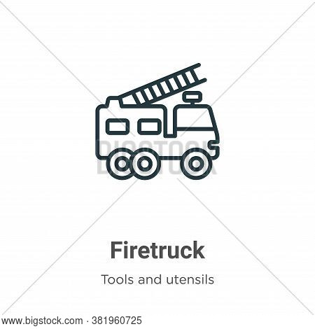 Firetruck Icon From Tools And Utensils Collection Isolated On White Background.