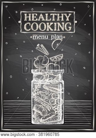 Healthy cooking chalkboard menu plan, graphic illustration with fruits and vegetables, proper balanced nutrition concept. Rasterized version