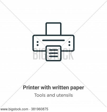 Printer with written paper icon isolated on white background from tools and utensils collection. Pri