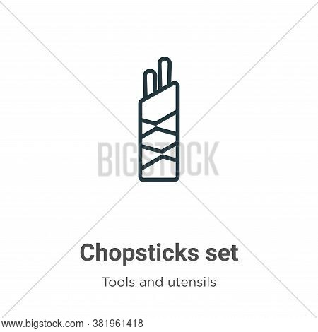 Chopsticks set icon isolated on white background from tools and utensils collection. Chopsticks set