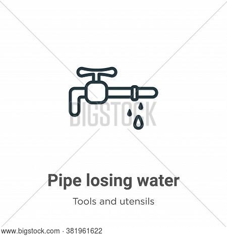 Pipe losing water icon isolated on white background from tools and utensils collection. Pipe losing