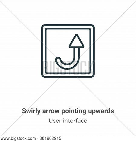 Swirly arrow pointing upwards icon isolated on white background from user interface collection. Swir